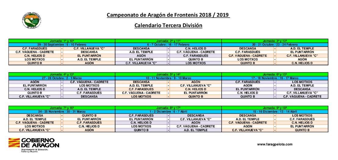 Calendario Tercera Division.Calendario Tercera Division 2018 19 Cto Aragon Clubes Frontenis